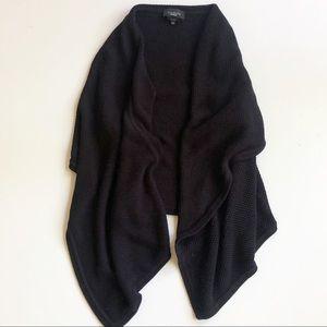 Talbots Black Pima Cotton Open Draped Knit Sweater